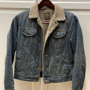 Lucky Denim Fleece Lined Jacket ladies medium